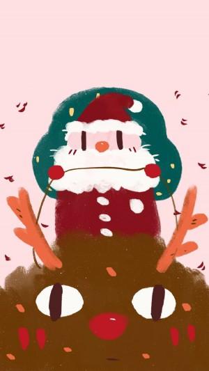 圣诞森系可爱手绘手机壁纸