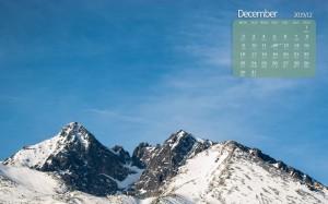2019年12月山脉自然雪景日历图片壁纸