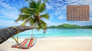 2019年8月海滩夏日日历壁纸