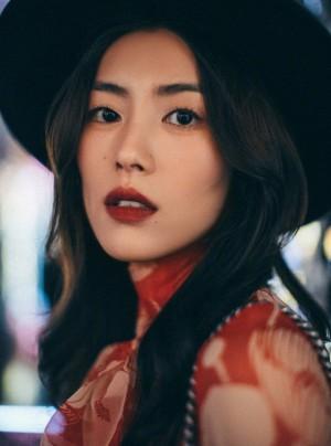 刘雯红色印花裙明媚写真图片
