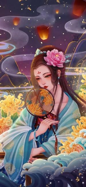 中秋节唯美插画手机壁纸