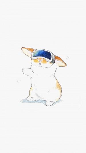 超萌小兔子简约清新卡通手绘插画