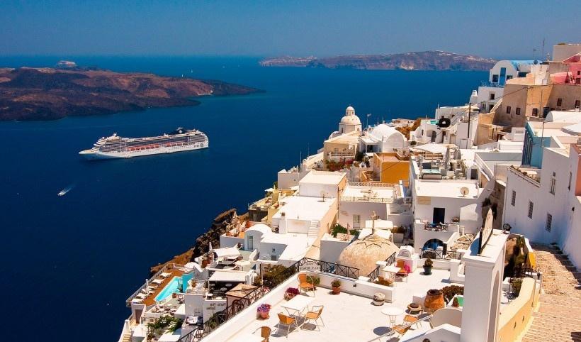 蓝色的爱琴海风景图片
