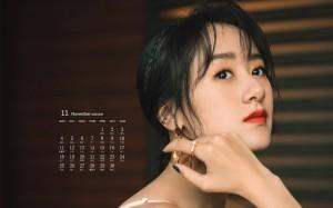 2019年11月袁冰妍清新甜美高清日历壁纸