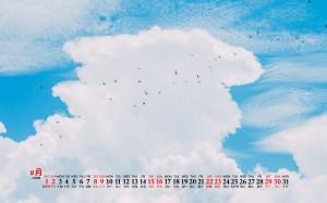2020年8月护眼清新水果蓝色风景桌面日历壁纸
