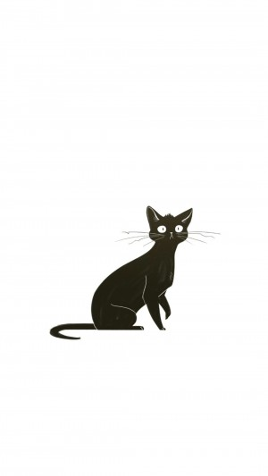 可爱卡通手绘森系猫咪高清手机壁纸