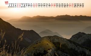 2019年10月巍峨山脉自然风景日历壁纸