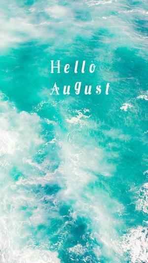 八月你好一望无垠的美丽大海文字图片