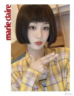 杨紫黄色格纹衬衣乖巧可爱写真图片