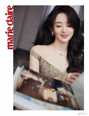 赵丽颖豹纹印花裙优雅贵气写真图片