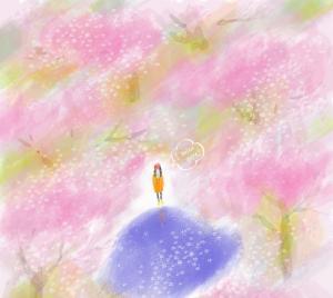 春天浪漫樱花季插画图片