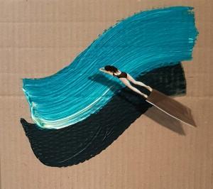 艺术家将丙烯浮雕和数字绘画结合的绘画作品