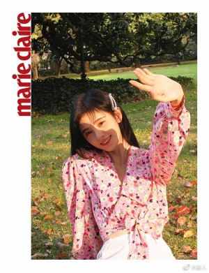 鞠婧祎粉色碎花短款系带衬衫少女感写真图片