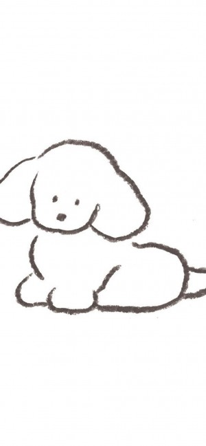 简笔画线条小狗狗手机壁纸