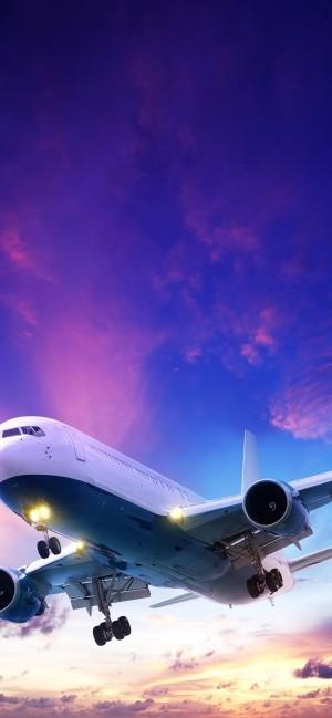 绚丽的黄昏降落的飞机