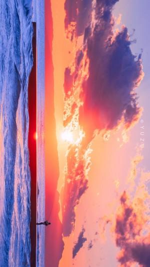 唯美的海边落日晚霞风景图片