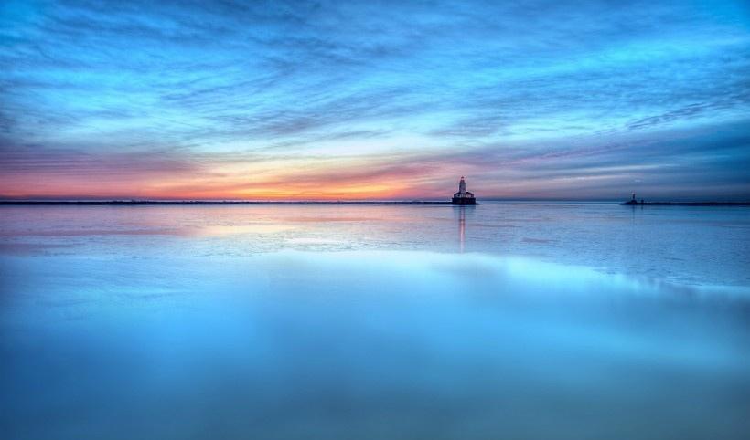 唯美大海灯塔写真