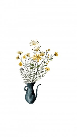 简约清新植物手绘插画手机壁纸
