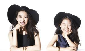 殷旭与女儿时尚可爱写真图片