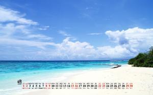2019年6月白云沙滩蓝色大海风景日历桌面壁纸