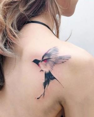 中国风简约清新水墨画动物纹身图片