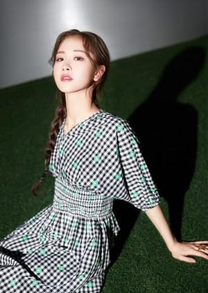 徐紫茵格纹裙优雅夜景写真图片