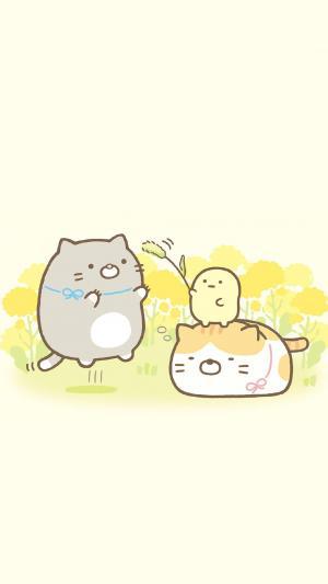 可爱手绘萌系动物插画高清手机壁纸