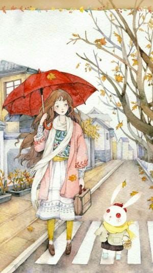 秋天,動漫大波浪美女撐傘走在馬路上壁紙圖片