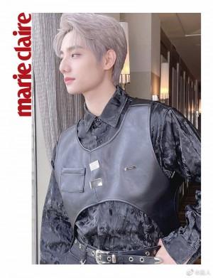 李振宁黑色提花衬衫酷飒少年感写真图片