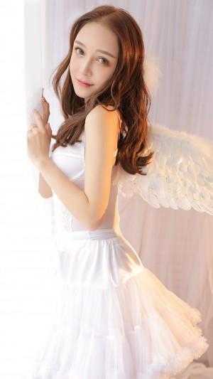 天使翅膀美女性感纯情梦幻写真手机壁纸
