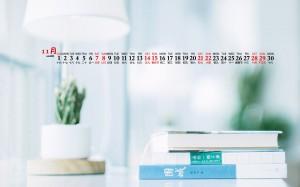 2020年11月简约清新电脑桌面日历壁纸