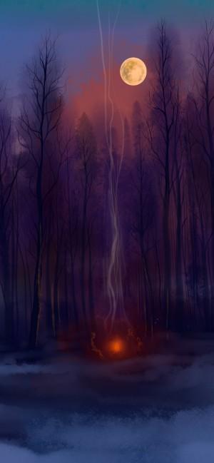 油画风手绘风景高清手机壁纸