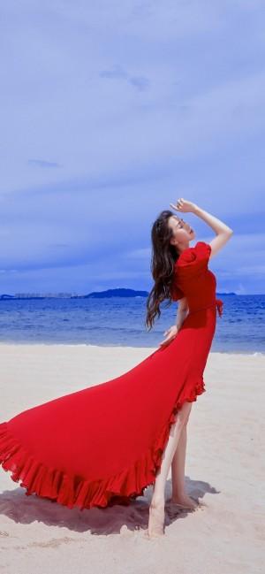 刘诗诗红裙优雅时尚高清手机壁纸