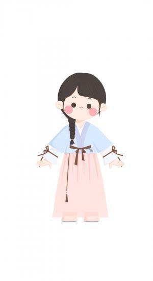 可爱卡通小女孩人物插画中国风服饰手机壁纸