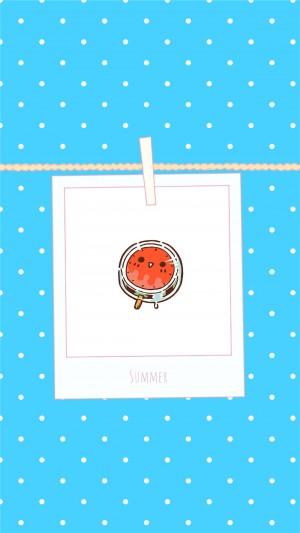 炎炎夏日卡通创意水果手绘高清手机壁纸