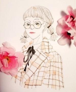 女孩的心情日記插畫圖片