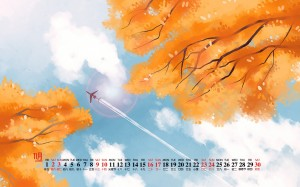 2019年11月唯美插画日历高清壁纸图片