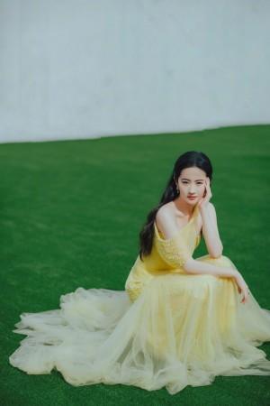 刘亦菲黄色珍珠纱裙明媚优雅写真