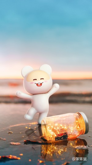 一罐璀璨光芒笨笨鼠唯美小清新鼠年手機壁紙