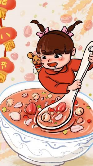 传统节日腊八节卡通图片手机壁纸