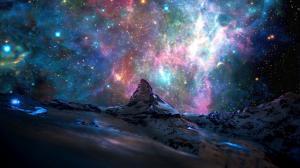 马特宏峰 太空山 晚上 星星 风景摄影图片