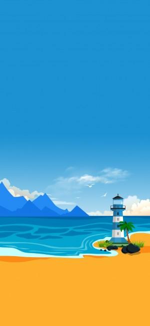海景灯塔手绘高清壁纸图片
