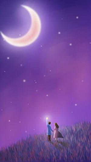 梦幻甜蜜中秋节手绘插画风景图片