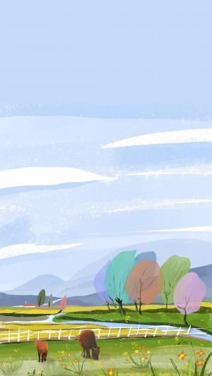 唯美清新手绘自然风景手机壁纸