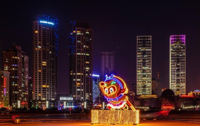 辽宁大连星海湾夜景写真图片