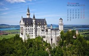 2019年12月梦幻城堡图片日历壁纸