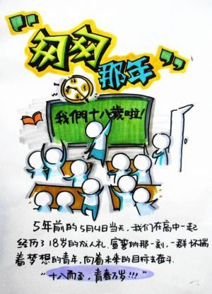 五四青年节怀旧手绘高清图片