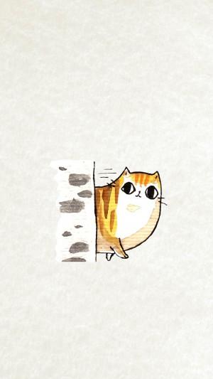 超萌小清新可爱猫咪手绘创意高清手机壁纸