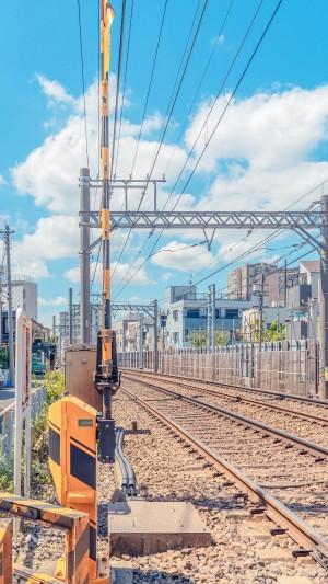 日系清新迷人电车轨道风景写真