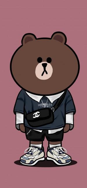 可爱潮流布朗熊手绘手机壁纸